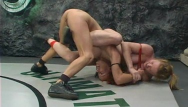 Nude Wrestling  Idiot Gets Strap Dildo Fucked