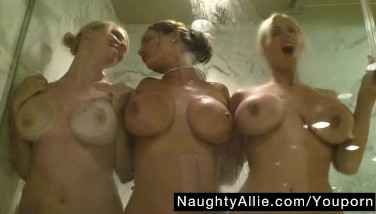 Shower Joy With My Damsel Friends – Girl-on-girl Threesome