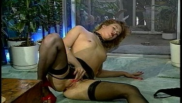 Hot Lady In Dark-hued With Crimson High High-heeled Slippers Dancing For You