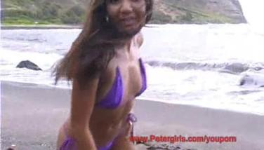 Hawaiian Swimsuit Honey On The Beach Masturbating