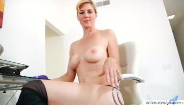Shaved Blond Mummy Double Fuck Stick Action