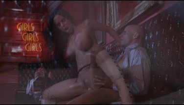 Bigtit Dark-haired In High-heeled Shoes Plumbs Gonzo In Strip
