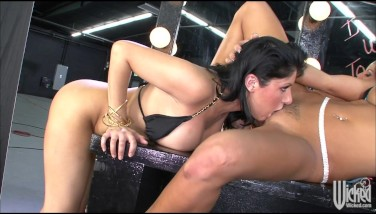 Sexy Huge-chested Brown-haired Lesbos Fuck Stick Each Other's We