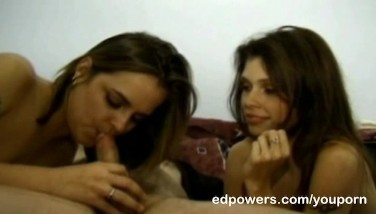 Two Chics Cleaning Ed's Meatpipe With Their Tongue