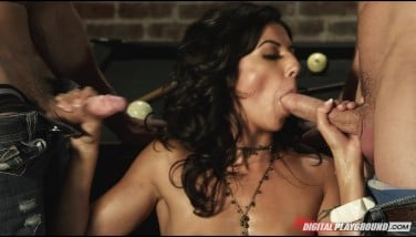 Horny Dark-haired Promiscuous Honey Pulverized Stiff By 2 Hard-ons In Gangbang