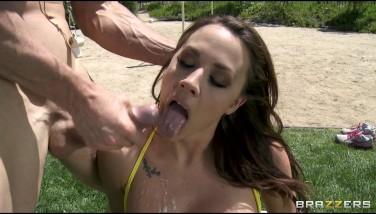 Sexy Big-boobed Dark Haired Chanel Preston Bangs Her Volleyball Referee
