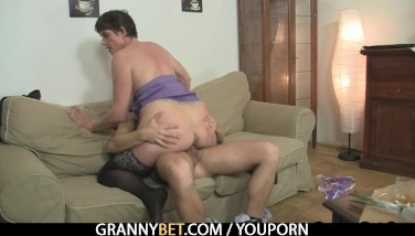 Naughty Granny Leaps On Rock-hard Meat
