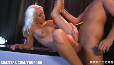 Beautiful Light-haired Stripper Polishes Her Raw Vagina On Her Man's Huge Dick