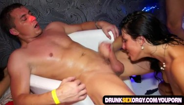 Hot Boozed Femmes Attempting Out Gang Sex