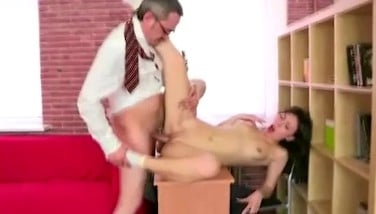 Cute Teenage College Girl With Bald Muff Gets Seduced By Her Old School Teacher In His Office