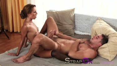 Strapon His Bootie Getting Pounded By His Girlfriend
