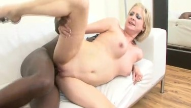 Blonde Mummy Inhales And Smashes A Yam-sized Dark-hued Pipe Into Bi-racial Fucky-fucky Scene