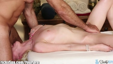 Trickyspa Inborn Blondie Very First Time Deep-throating Dick
