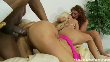 Fourway Hump With Super-steamy Milky Femmes And One Immense Dark-hued Cock