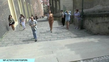 Hot Czech Honey Natalie Demonstrates Her Nude Figure On Public Street