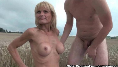 Grandma And Her Fucktoy Dude Tear Up Outdoors