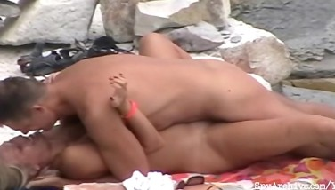 Blonde Gf Gets Pummeled On The Beach