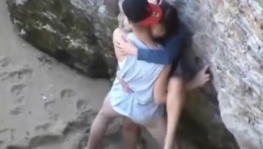 Voyeur Flick Of A Duo Having Strong Orgy At The Beach