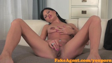 Fakeagent Super-steamy Suntanned Dark-haired Poked Rock Hard Before Taking Jizm In Her Mouth
