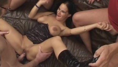 Busty Fledgling Teenager Girlfriend Home Gang-fuck With Facials