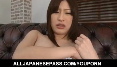 Riko Oshima In Lengthy Socks Has Smooth-shaven Vulva Excited With Vibrator