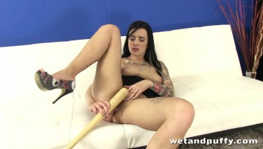 Hottie Kirsten Horny Plays With A Baseball Bat