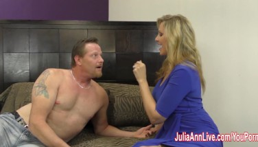 Busty Mummy Julia Ann Wanks Him Off With Faux Pussy