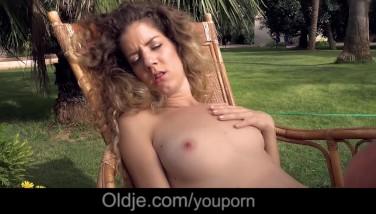 Skinny Nympo Monique Smashes Old Fellow In Luxuriant Garden