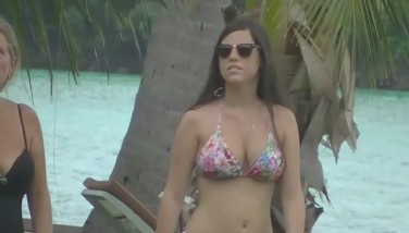 Spying A Big-chested Teenager Nymph At The Beach