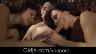 Young Honeys Smashing Surprise For Old Dudes In The Palace Of Rock-hard Cumshots