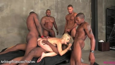 Ashley Fires Pummeled By Five Ebony Pricks With Facials