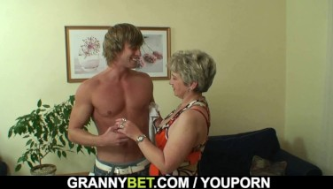 Lonely Old Grandma Gulps And Rails His Cock