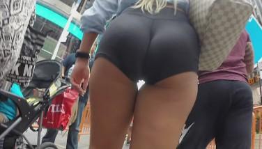 Street Spycam Goes After Epic Platinum-blonde S Ass