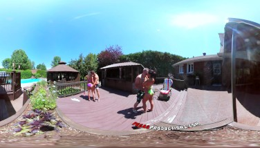 3way Porno  Vr Gang Hookup By The Pool In Public 360