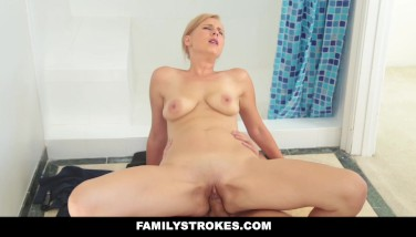 Familystrokes  Platinum-blonde Mummy Plows Stepson In Shower