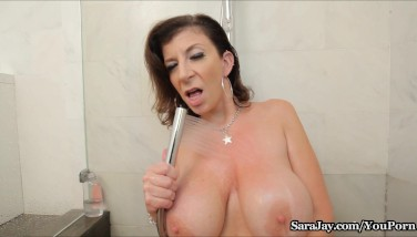 Sara Jay Showers Her Gigantic Fun Bags And Culo In The Shower
