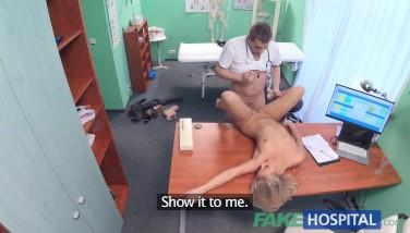 Fake Hospital Small Blond Gargles A Gigantic Boner Before Harsh Fuck