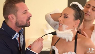 Flexible French Maid Gets Her Booty Dual Porked By Boss.mp4