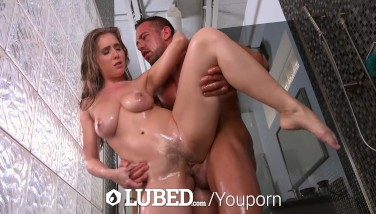 Lubed Huge-boobed Lena Paul Injected With Meaty Man Meat In The Shower