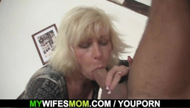 Wife Leaves And Ash-blonde Mommy Leaps On His Cock