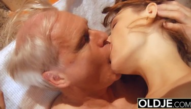 Grandpa Plumbs Youthful Puss The Teenage Gives Bj And Guzzles Cock