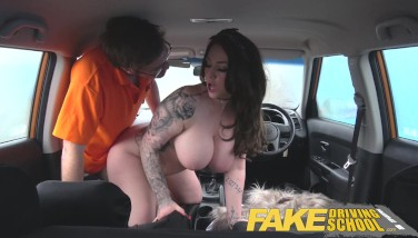 Fake Driving College Buxomy Jailbird Takes Instructor On A Super-naughty Ride