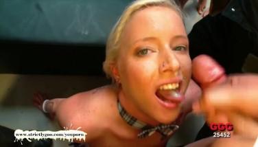 Blonde Thin Mass Ejaculation Stunner Lucy Gets Jism Facialed  German Goo Girls