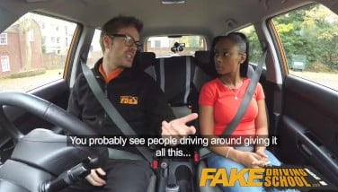 Fake Driving College Dark-hued Learner With Fat Melons Is Worst Driver Yet