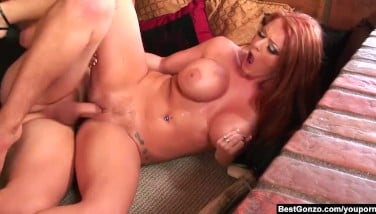 Bestgonzo  Redhead Sophie Dee Is Getting On All Fours To Get A Rock-hard Meatpipe In Her Mouth.