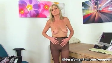 English Gilf Dolly Puts Her Faux-cock To Work On Her Longing Cunt