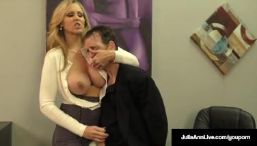 Busty Platinum-blonde Mummy Julia Ann Jerks Spunk From Rock Rigid Dick