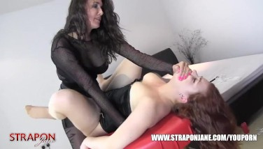 Strapon Jane Slaps And Waxes Mummy Whores Honeypot While She Fucktoys Then Face Porks And Rock Hard Missionary Sex