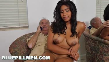 Blue Pill Dudes  Old Boys Pummel Jenna J. Foxx's Superb Ebony Ass