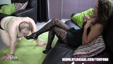 Submissive Mega-slut Inhales Mummy High Heel For Satin Undies Nylon Stocking Pink Cigar Sole Idolize And Wank
